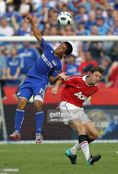 Sunil Chhetri of the Kansas City Wizards competes with Jonny Evans of Manchester United for a header during the game at Arrowhead Stadium on July 25...