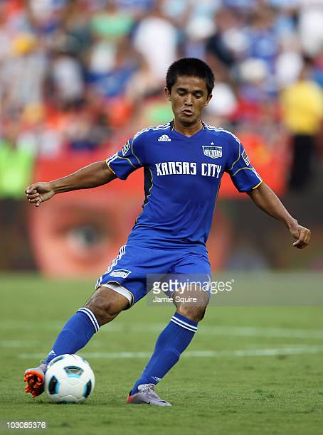 Sunil Chhetri of the Kansas City Wizards controls the ball during the game against Manchester United at Arrowhead Stadium on July 25 2010 in Kansas...