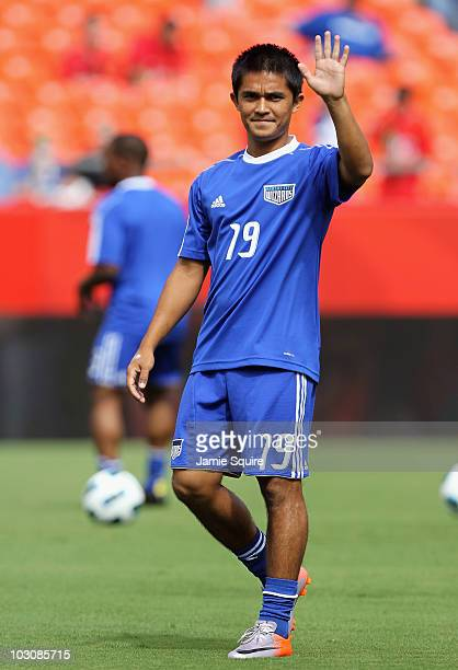 Sunil Chhetri of the Kansas City Wizards warms up prior to the start of the game against Manchester United at Arrowhead Stadium on July 25 2010 in...
