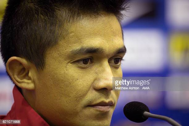 Sunil Chhetri the captain of Bengaluru FC of India talks in a press conference ahead of the AFC Cup Final 2016 between JSW Bengaluru and Air Force...