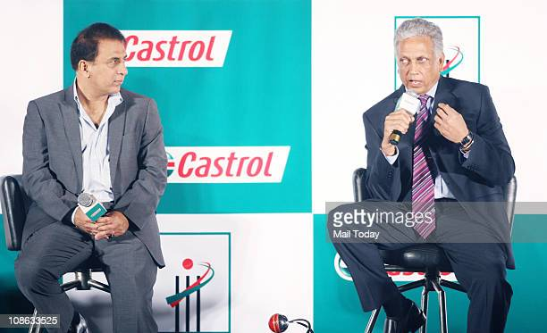 Sunil Gavaskar and Mohinder Amarnath during the Castrol Awards for Cricketing Excellence in Mumbai