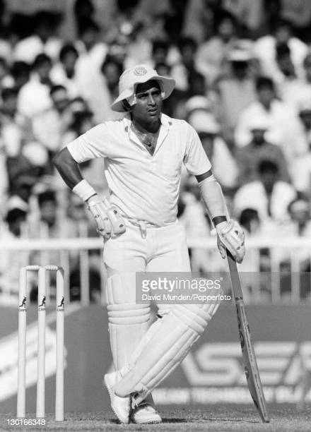 Sunil Gavaskar in action for India during their Champions Trophy match against the West Indies in Sharjah United Arab Emirates 30th November 1986...