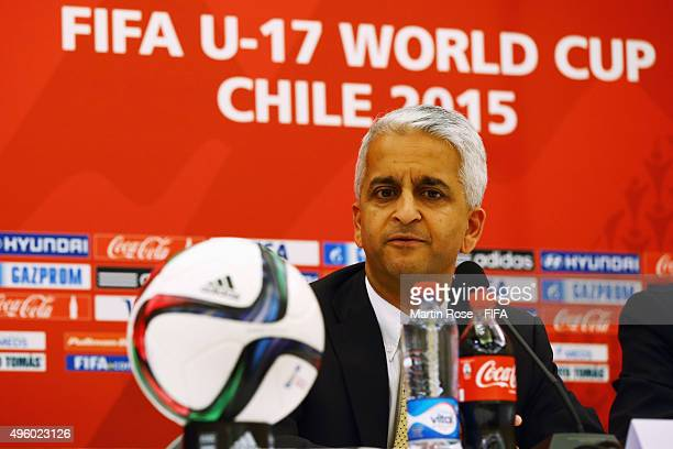 Sunil Gulati Chairman Organizing Committee FIFA U17 World Cup Chile 2015 attends the closing press conference of the FIFA U17 World Cup Chile 2015 at...