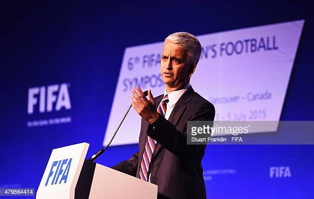Sunil Gulati FIFA Executive Committee Member addresses the delagates during the third day of the 6th FIFA Women's Football Symposium at the Hyatt...