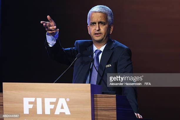 Sunil Gulati FIFA Executive Committee member and Chairman of the Media Committee speaks during the 64th FIFA Congress at TEC on June 11 2014 in Sao...
