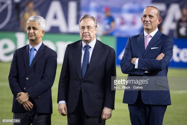 Sunil Gulati President of the United States Soccer Federation Florentino Pérez president of Real Madrid and Don Garber Commissioner of MLS at the...