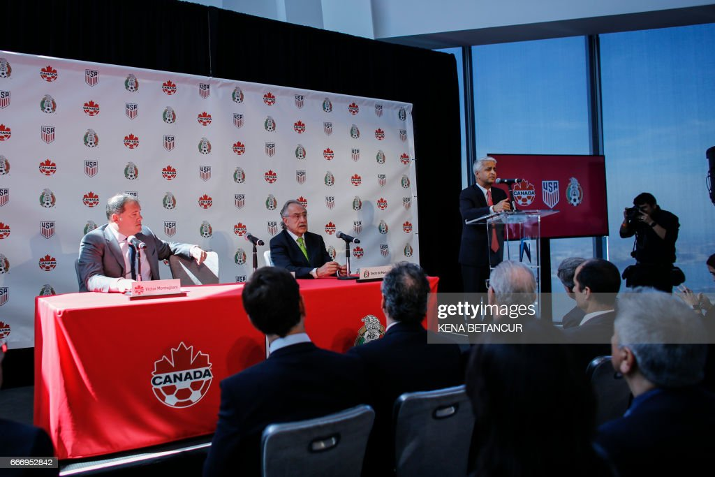 Sunil Gulati President of United States Soccer Federation speaks during a press conference after announcing the next soccer 2026 World Cup in North America on April 10, 2017 at the One World Trade Center in New York. The United States, Mexico and Canada announced a joint bid to stage the 2026 World Cup on Monday, aiming to become the first three-way co-hosts in the history of FIFA's showpiece tournament. /