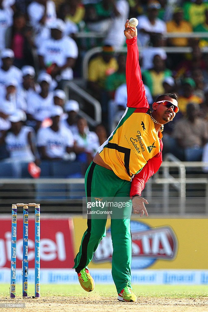 Sunil Narine of Guyana Amazon Warriors bowls during the Sixteenth Match of the Cricket Caribbean Premier League between Jamaica Tallawahs v Guyana Amazon Warriors at Sabina Park on August 15, 2013 in Kingston, Jamaica.