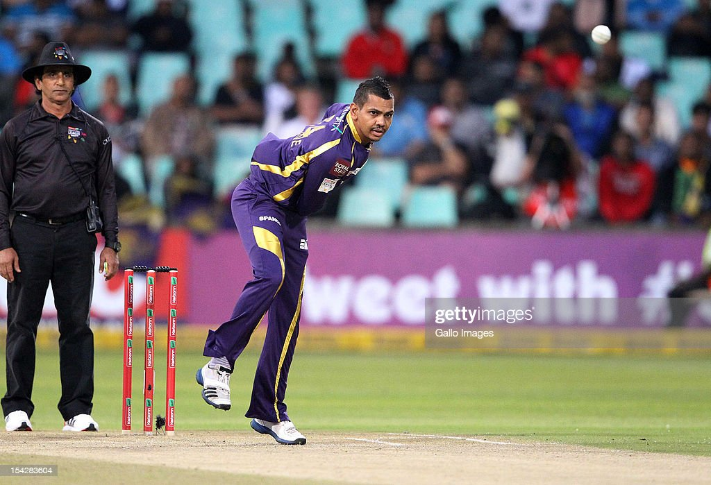 <a gi-track='captionPersonalityLinkClicked' href=/galleries/search?phrase=Sunil+Narine&family=editorial&specificpeople=8287526 ng-click='$event.stopPropagation()'>Sunil Narine</a> of the Kolkata Knight Riders bowls during the Karbonn Smart CLT20 match between Kolkata Knight Riders and Perth Scorchers at Sahara Stadium Kingsmead on October 17, 2012 in Durban, South Africa.