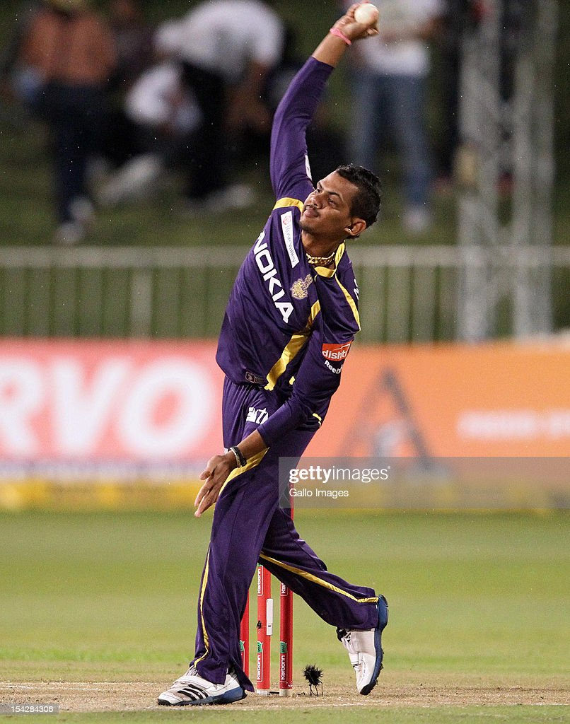 <a gi-track='captionPersonalityLinkClicked' href=/galleries/search?phrase=Sunil+Narine&family=editorial&specificpeople=8287526 ng-click='$event.stopPropagation()'>Sunil Narine</a> of the Kolkata Knight Riders in action during the Karbonn Smart CLT20 match between Kolkata Knight Riders and Perth Scorchers at Sahara Stadium Kingsmead on October 17, 2012 in Durban, South Africa.