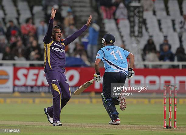 Sunil Narine of the Kolkata Knight Riders reacts during the Karbonn Smart CLT20 match between Kolkata Knight Riders and Auckland Aces at Sahara Park...