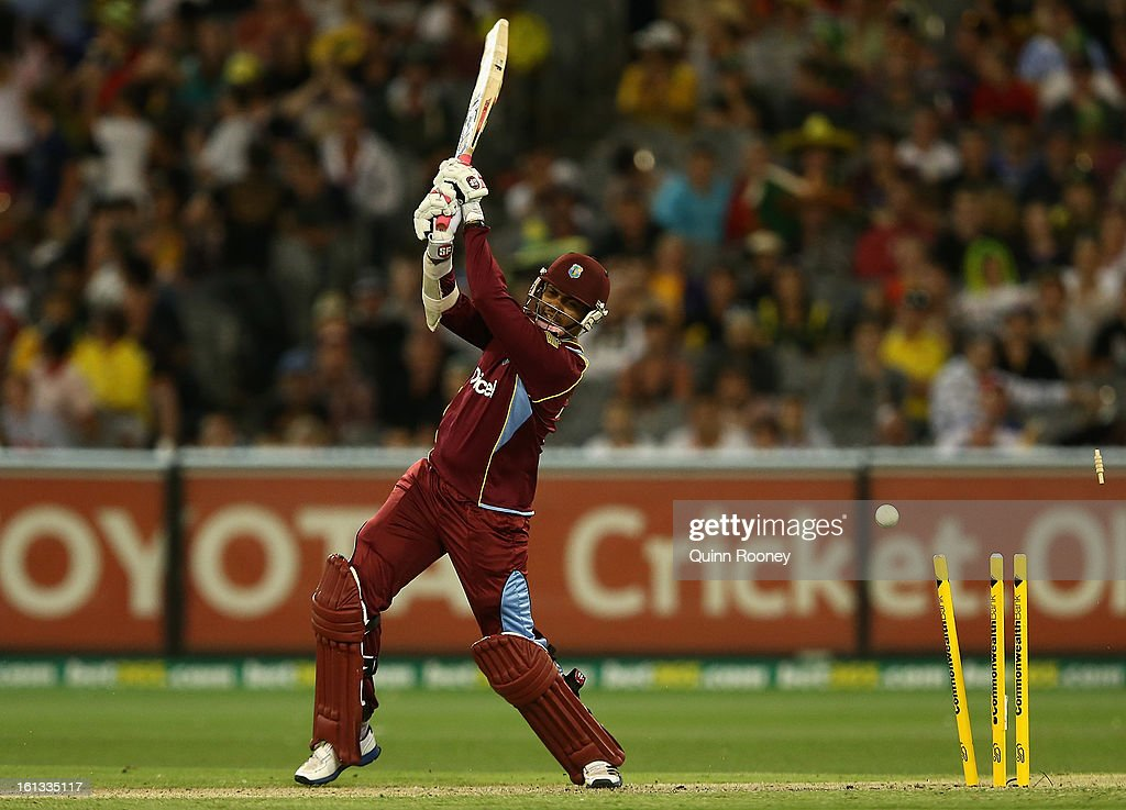 Sunil Narine of the West Indies is bowled during game five of the Commonwealth Bank International Series between Australia and the West Indies at Melbourne Cricket Ground on February 10, 2013 in Melbourne, Australia.