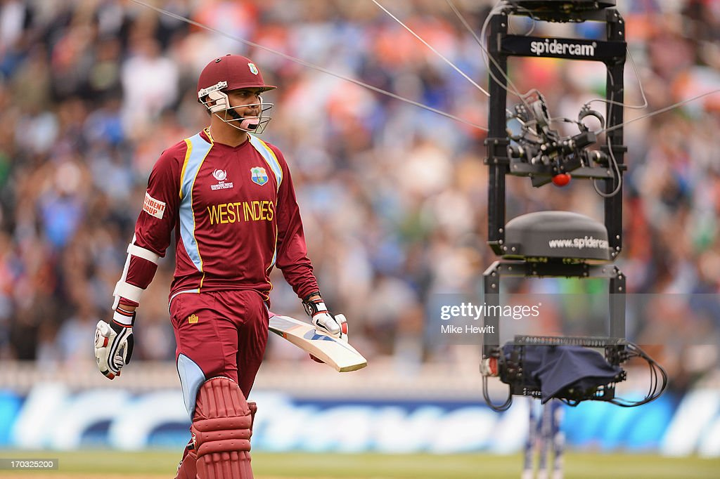 Sunil Narine of West Indies is tracked by Spidercam after being dismissed during the ICC Champions Trophy Group B match between India and West Indies...