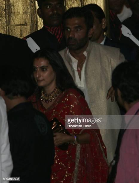 Sunil Shetty and Mana Shetty at the wedding of Aishwarya and Abhishek Bachchan