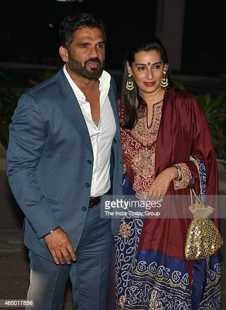 Sunil Shetty with his wife Mana Shetty at Wedding reception of Tulsi Kumar in Mumbai
