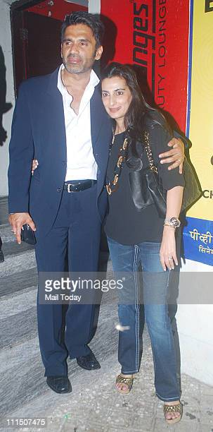 Sunil Shetty with wife Mana Shetty at the special screening of the movie 'Thank You' at PVR Cinemas Mumbai on April 1 2011