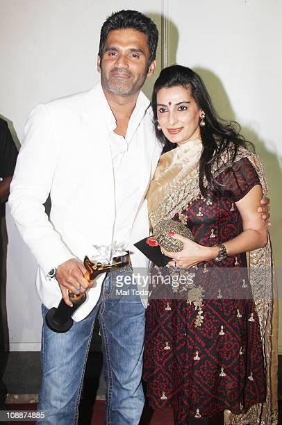 Sunil Shetty with wife Mana Shetty during the Stardust Awards function in Mumbai on Sunday evening