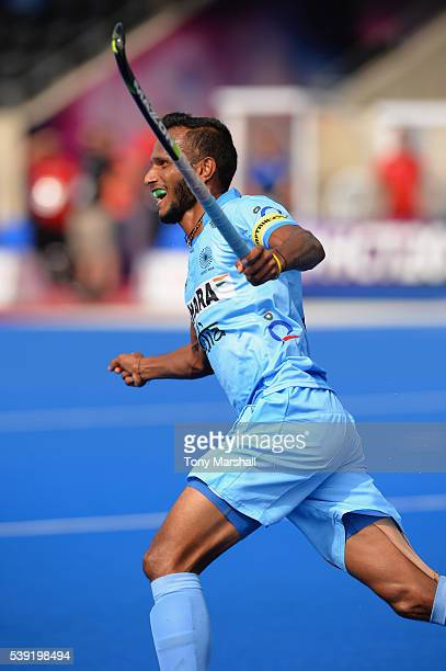 Sunil Sowmarpet of India celebrates scoring their first goal during the FIH Men's Hero Hockey Champions Trophy 2016 Day One match between Germany and...