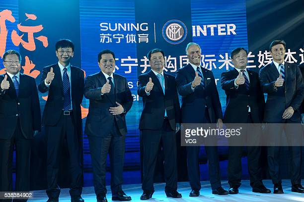 Suning chairman Zhang Jindong and Inter Milan president Erick Thohir attend the Press Conference for Suning's Acquisition of Inter Milan on June 6...