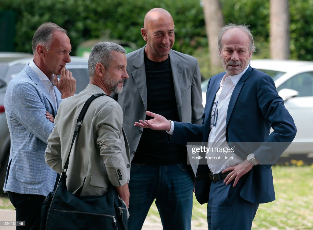 Suning Sports Technical Director Walter Sabatini (R) speaks to the new technical staff at the club's training ground Suning Training Center in memory of Angelo Moratti on June 9, 2017 in Como, Italy.