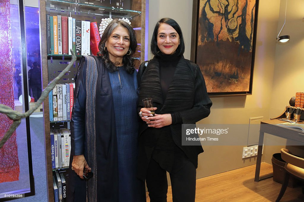 Sunita Kohli, Interior designer and saree collector with Fashion Designer, Poonam Bhagat during the preview party of India Design ID 2016 on February 11, 2016 in New Delhi, India. India Design ID is the paramount platform for a new generation of designers. It witnesses the participation of top-notch global design brands, architects and interior designers.