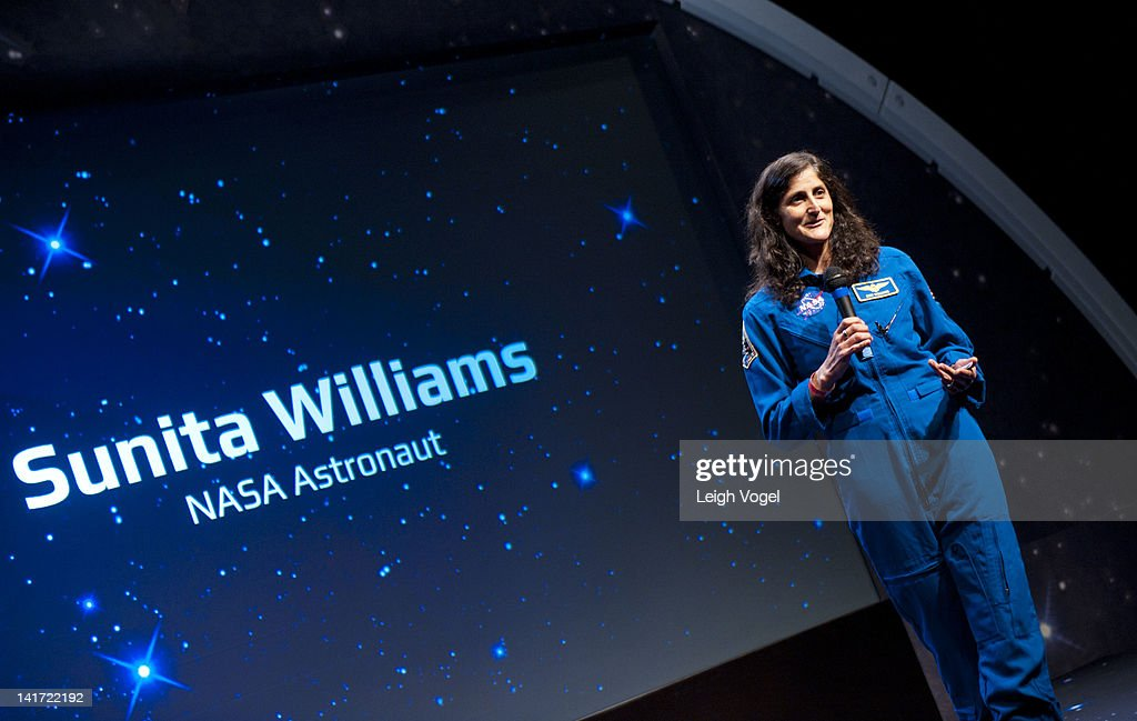 <a gi-track='captionPersonalityLinkClicked' href=/galleries/search?phrase=Sunita+Williams&family=editorial&specificpeople=4001582 ng-click='$event.stopPropagation()'>Sunita Williams</a> attends YouTube Space Lab Competition, where two winning teams, Amr Mohamed and Dorothy Chen and Sara Ma to have experiments performed in space at The Newseum on March 22, 2012 in Washington, DC.