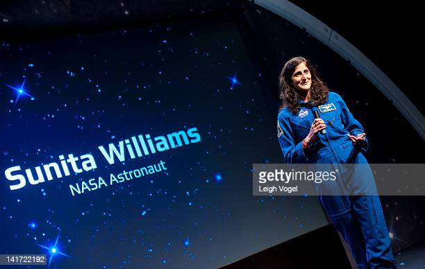 Sunita Williams attends YouTube Space Lab Competition where two winning teams Amr Mohamed and Dorothy Chen and Sara Ma to have experiments performed...