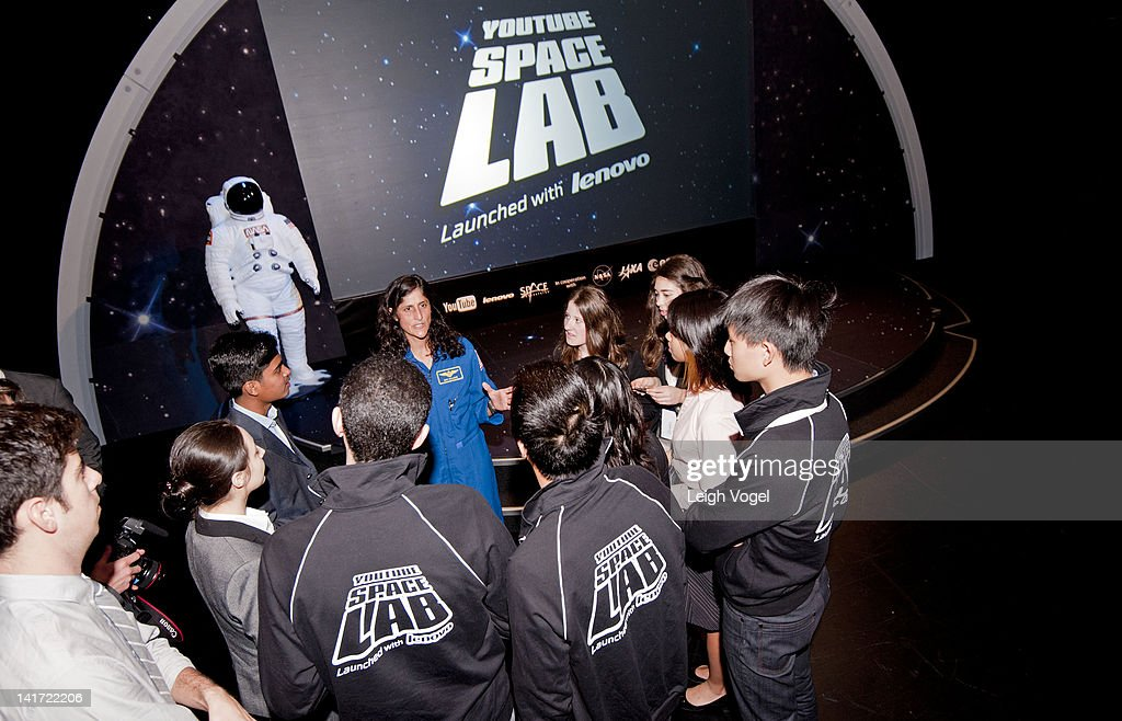 <a gi-track='captionPersonalityLinkClicked' href=/galleries/search?phrase=Sunita+Williams&family=editorial&specificpeople=4001582 ng-click='$event.stopPropagation()'>Sunita Williams</a> (C) attends YouTube Space Lab Competition, where two winning teams, Amr Mohamed and Dorothy Chen and Sara Ma to have experiments performed in space at The Newseum on March 22, 2012 in Washington, DC.