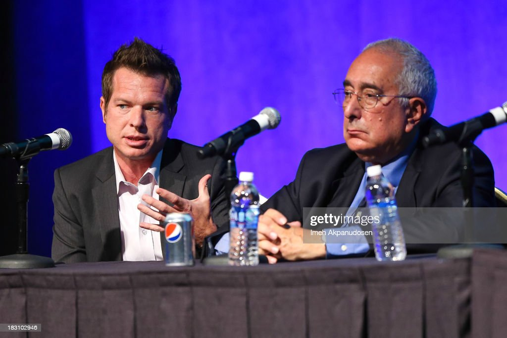 Sunivo executive Cory Hudson (L) and television personality <a gi-track='captionPersonalityLinkClicked' href=/galleries/search?phrase=Ben+Stein&family=editorial&specificpeople=551931 ng-click='$event.stopPropagation()'>Ben Stein</a> speak onstage during Sunivo's 1st Annual CHINA NOW Summit at the Hyatt Regency Century Plaza on October 3, 2013 in Century City, California.