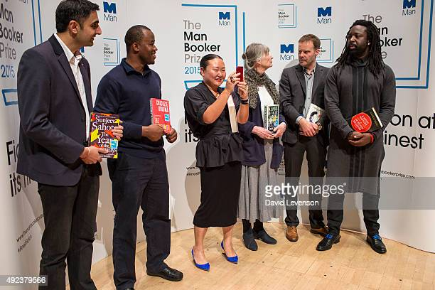 Sunjeev Sahota Chigozie Obioma Hanya Yanagihara Anne Tyler Tom McCarthy and Marlon James attend a photocall for the Man Booker Prize 2015 Shortlisted...