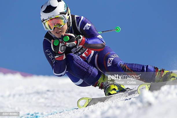 SunJoo Kim Korea in action during the Women's Giant Slalom competition at Coronet Peak New Zealand during the Winter Games Queenstown New Zealand...