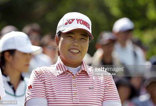 SunJu Ahn of Japan smiles on the third hole during the final round of the 48th LPGA Championship Konica Minolta Cup 2015 at the Passage Kinkai Island...