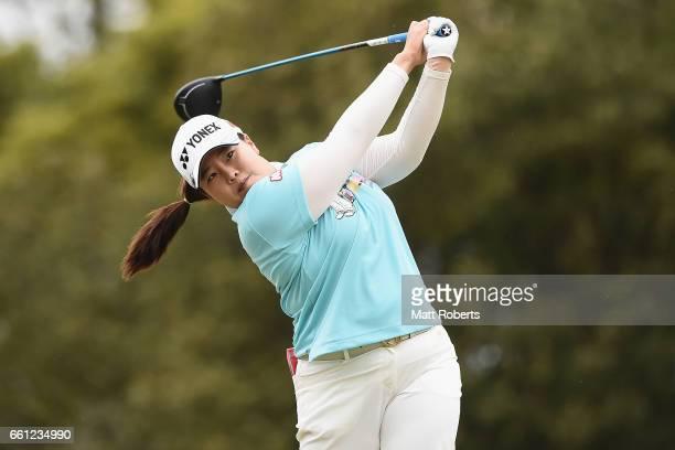 SunJu Ahn of Korea hits her tee shot on the second hole during the second round of the YAMAHA Ladies Open Katsuragi at the Katsuragi Golf Club Yamana...