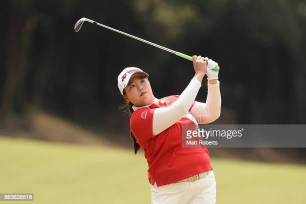 SunJu Ahn of Korea plays her approach shot on the third hole during the final round of the YAMAHA Ladies Open Katsuragi at the Katsuragi Golf Club...