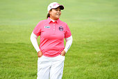 Sunju Ahn of South Korea celebrates after making her birdie putt on the 1st green during the final round of the Century 21 Ladies Golf Tournament...