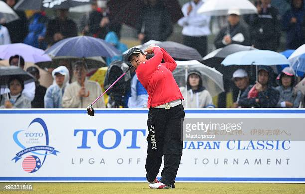 SunJu Ahn of South Korea hits her tee shot on the 1st hole during the third round of the TOTO Japan Classics 2015 at the Kintetsu Kashikojima Country...