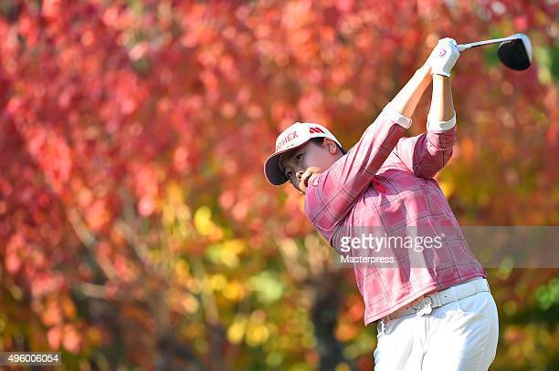 SunJu Ahn of South Korea hits her tee shot on the 2nd hole during the first round of the TOTO Japan Classics 2015 at the Kintetsu Kashikojima Country...
