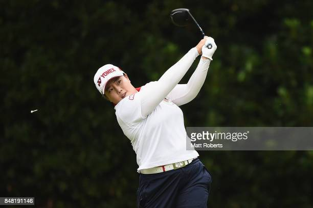 SunJu Ahn of South Korea hits her tee shot on the 2nd hole during the final round of the Munsingwear Ladies Tokai Classic 2017 at the Shin Minami...