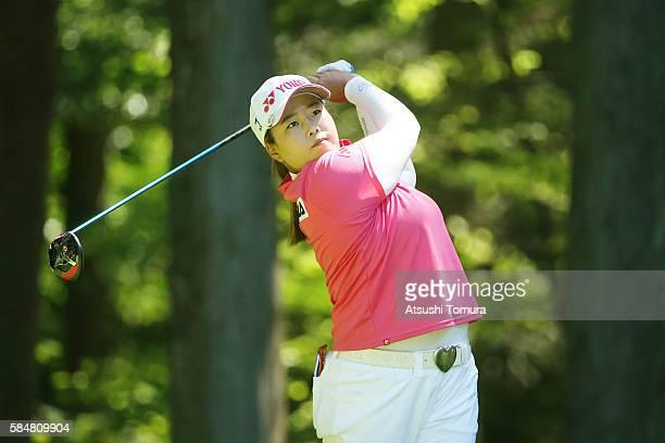 SunJu Ahn of South Korea hits her tee shot on the 3rd hole during the final round of the Daito Kentaku Eheyanet Ladies 2016 at the Narusawa Golf Club...