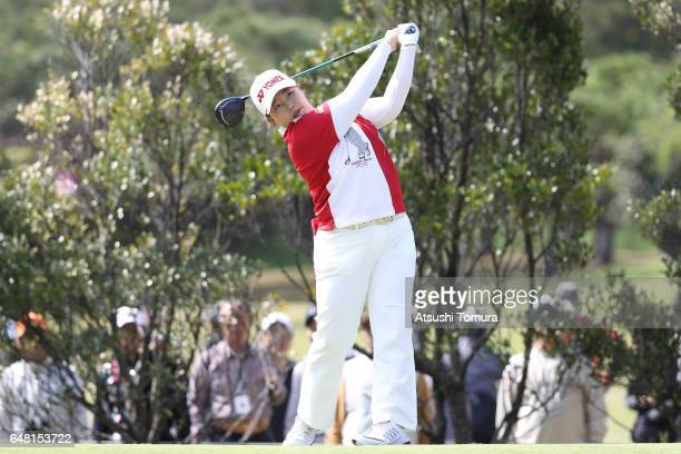 SunJu Ahn of South Korea hits her tee shot on the 4th hole during the final round of the Daikin Orchid Ladies Golf Tournament at the Ryukyu Golf Club...