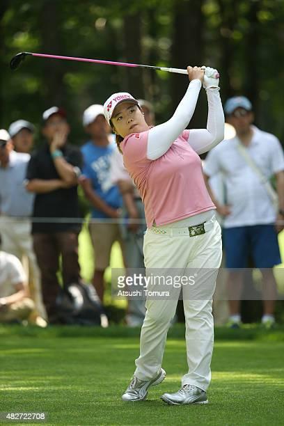 SunJu Ahn of South Korea hits her tee shot on the 5th hole during the final round of the Daito Kentaku Eheyanet Ladies 2015 at the Narusawa Golf Club...