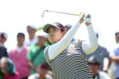 SunJu Ahn of South Korea hits her tee shot on the 6th hole during the final round of the Munsingwear Ladies Tokai Classic at the Shin Minami Aichi...