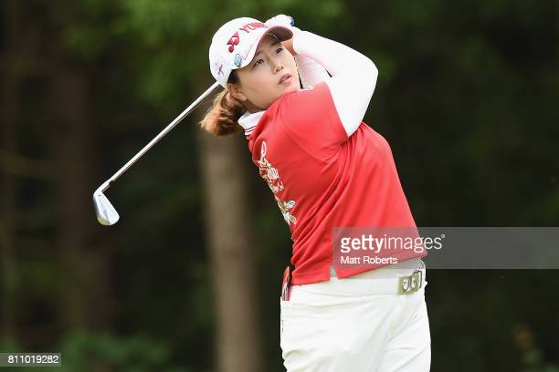SunJu Ahn of South Korea hits her tee shot on the 7th hole during the final round of the Nipponham Ladies Classics at the Ambix Hakodate Club on July...