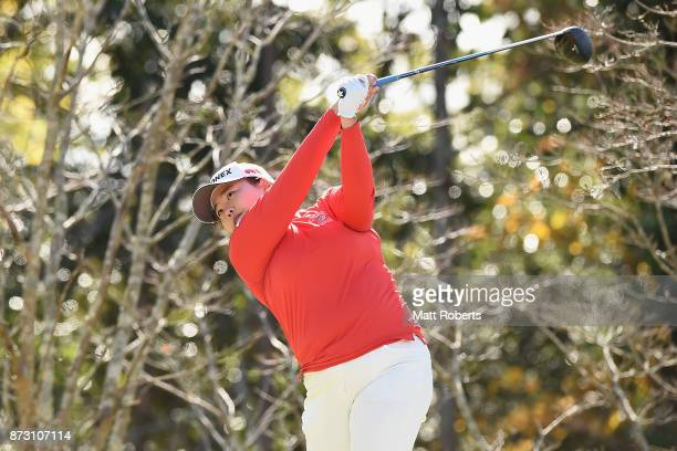 SunJu Ahn of South Korea hits her tee shot on the 8th hole during the final round of the Itoen Ladies Golf Tournament 2017 at the Great Island Club...