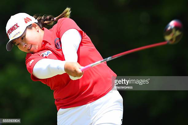 SunJu Ahn of South Korea hits her tee shot on the 9th hole during the final round of the Chukyo Television Bridgestone Ladies Open at the Chukyo Golf...