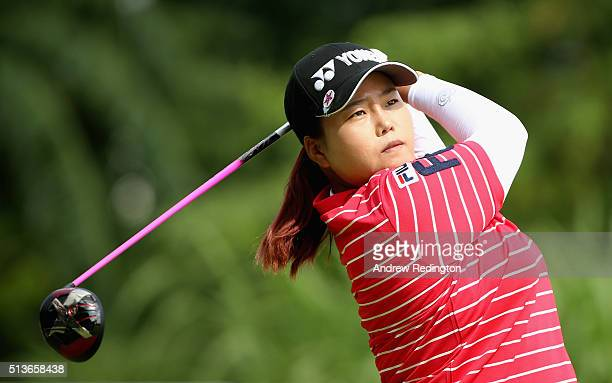 SunJu Ahn of South Korea hits her teeshot on the third hole during the second round of the HSBC Women's Champions at Sentosa Golf Club on March 4...