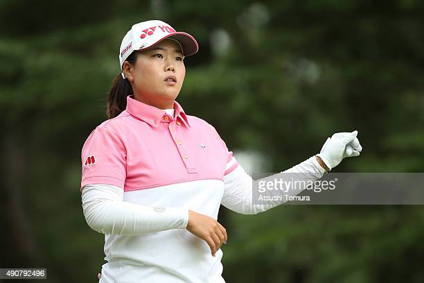 SunJu Ahn of South Korea looks on during the first round of Japan Women's Open 2015 at the Katayamazu Golf Culb on October 1 2015 in Kaga Japan
