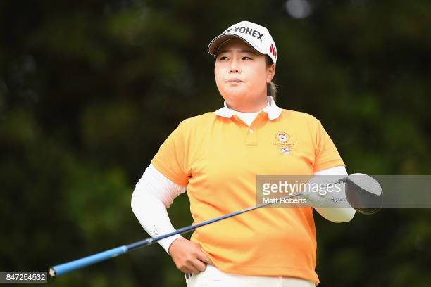 SunJu Ahn of South Korea looks on during the first round of the Munsingwear Ladies Tokai Classic 2017 at the Shin Minami Aichi Country Club Mihama...