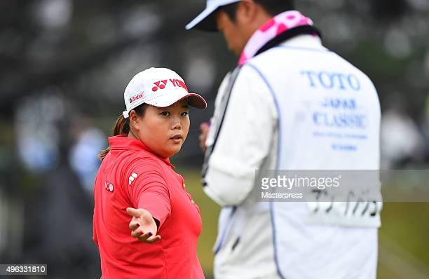 SunJu Ahn of South Korea looks on during the third round of the TOTO Japan Classics 2015 at the Kintetsu Kashikojima Country Club on November 8 2015...