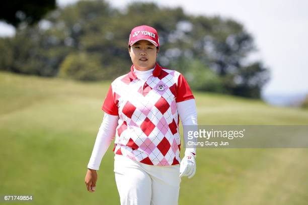 SunJu Ahn of South Korea on the 15th green during the final round of Fujisankei Ladies Classic at the Kawana Hotel Golf Course Fuji Course on April...